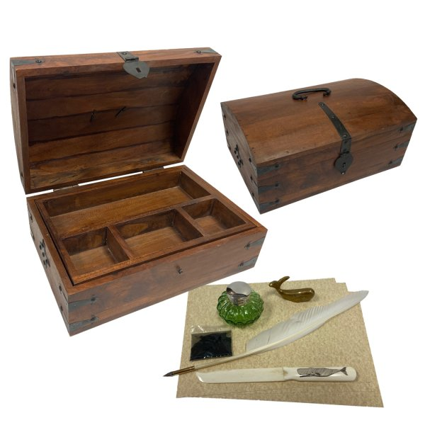Wood Nautical 14″ Whaler's Sea Caption Writing Chest –  Bone Letter Opener –  Brass Whale Paperweight –  Inkwell –  Ink –  Quill –  Paper- Antique Vintage Style