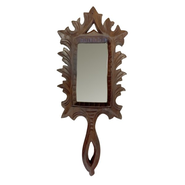 Wood Early American 7″ Hand-Carved Wood Hand Mirror- Colonial Reproduction Antique Vintage Style