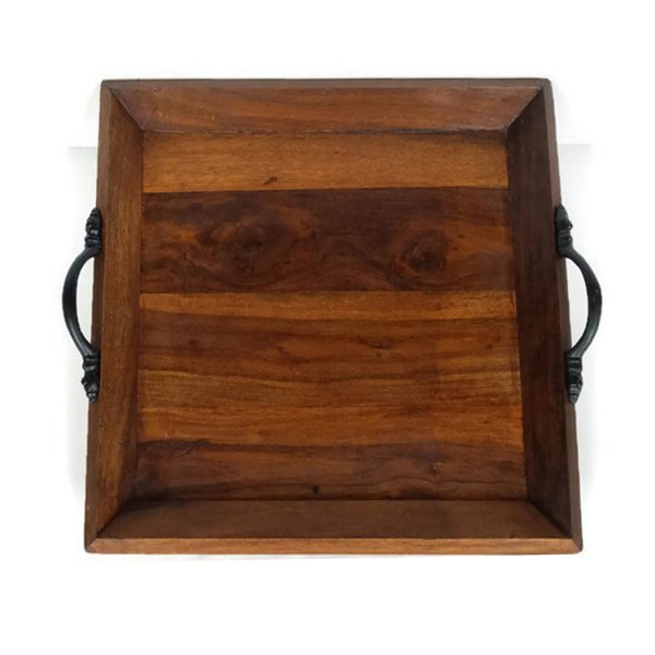 Wood Early American Antiqued Solid Teak Wood Serving Tray – 11-3/4 x 10-3/4