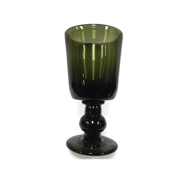 Glass Early American 6″ Hand Blown Dark Green Thick Glass Antique Reproduction Wine/Water Goblet