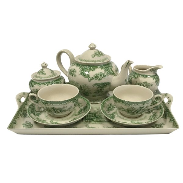 Porcelain Teaware 16″ Gondola Green Transferware Porcelain Tea Set with Tray – Antique Reproduction